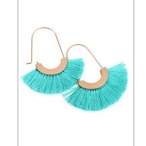 Turquoise Fringe Arc Earrings